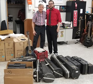 Famous Jazz Musician Jamey Aebersold donates instruments to WCHS Band