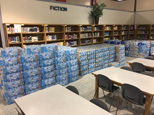 Over 13,500 bottles of water gathered at W.C.M.S.
