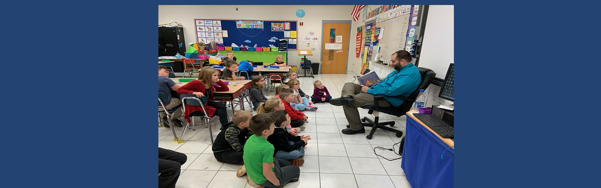 Mrs Davis' class is read to by Mr. Matt Davis