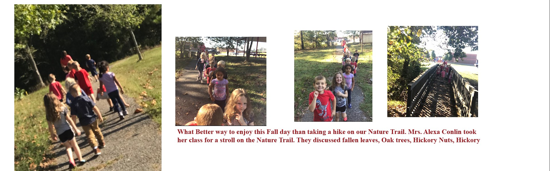WCCP - Mrs. Conlin takes students to Nature Trail.