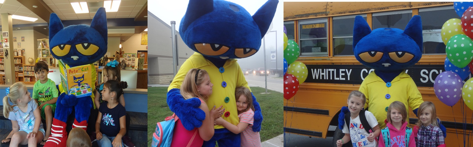 Pete the Cat visits students at Pleasant View