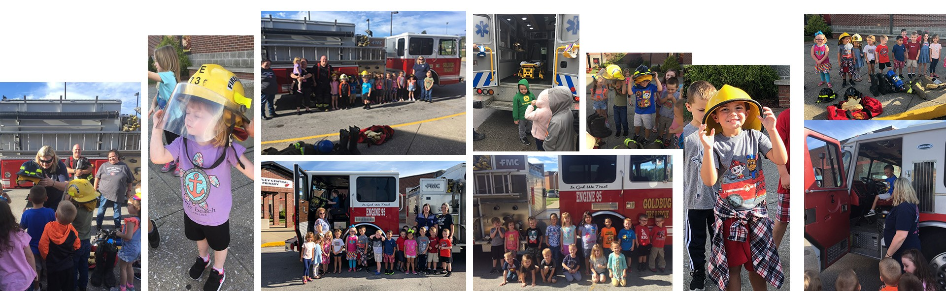 Whitley Central Primary students with Goldbug Fire Department